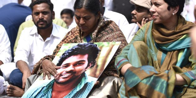 Radhika, mother of Dalit scholar Rohith Vemula, in New Delhi on 2 March 2016. (Photo by Arun Sharma/Hindustan...