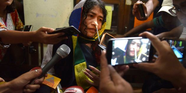 Human rights activist Irom Sharmila addressing a press conference as she was brought to the Cheirap Court...