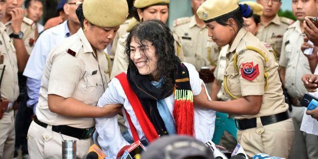 Human rights activist Irom Sharmila breaks her 16-year long fast at a press conference at Jawahar Lal...