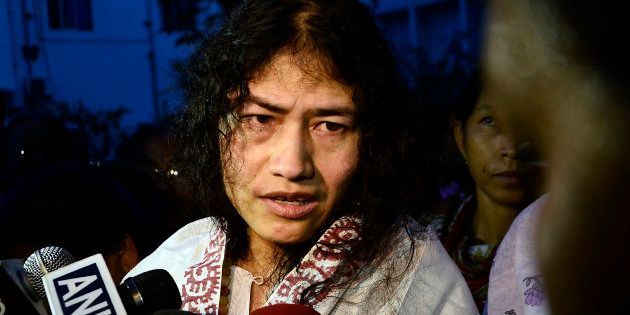 Indian human rights activist Irom Sharmila speaks to the media outside a prison hospital in Imphal August...