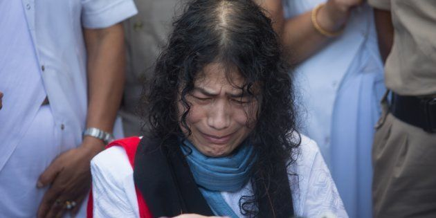 Human rights activist Irom Sharmila addressing press as she was brought to the Cheirap court on August...