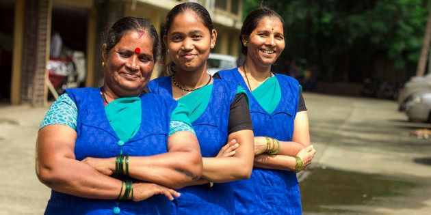 Vidya Bhosale, Parveen Khan, and Pushpa Shingare work at MyDidi, an app that helps domestic workers in...