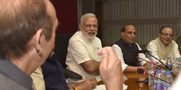 Prime Minister Narendra Modi, Home Minister Rajnath Singh, Finance Minister Arun Jaitley, Parliamentary...
