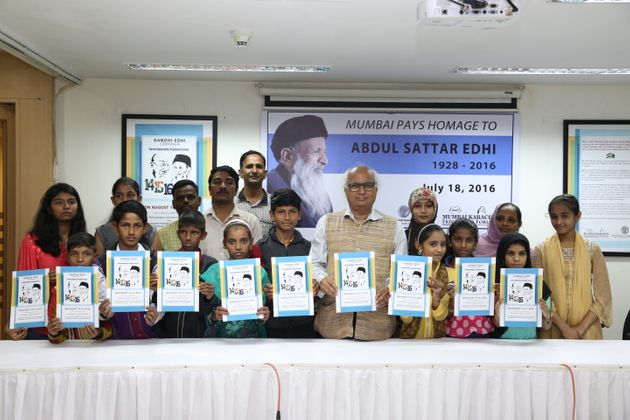 Children from a madarsa in Kurla, Mumbai attend the launch of the Gandhi-Edhi