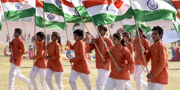 School children perform cultural program during I-day