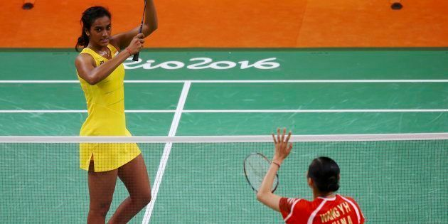 P.V. Sindhu (IND) of India celebrates after winning her match against Wang Yihan (CHN) of