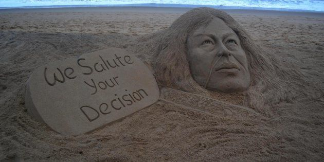 A sand sculpture of Manipurs Iron Lady Irom Chanu Sharmila looks at the Bay of Bengal Seas eastern coast...