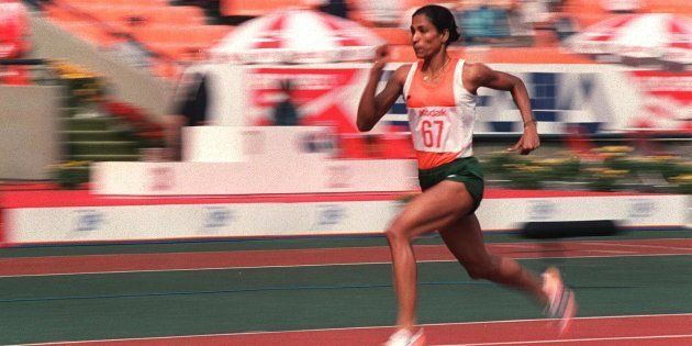 Track star P.T. Usha shown in photo dated 29 September 1986 streaking her way to pass in the women's...