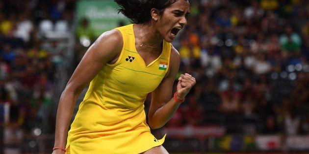 PV Sindhu winning a point in the Women's Badminton Singles Semi-final on August 18, 2016 in Rio de