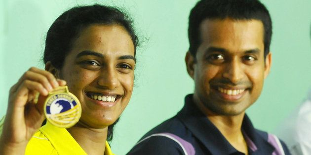 File photo of PV Sindhu with coach Pullela