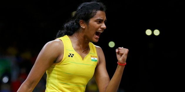 P.V. Sindhu reacts during match against Carolina Marin of Spain. REUTERS/Marcelo del