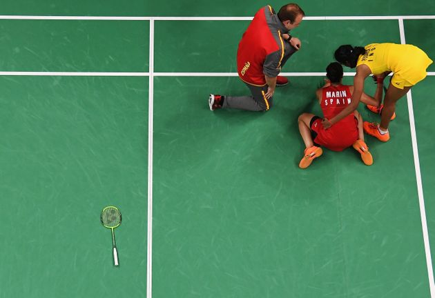 Carolina Marin of Spain celebrates match point against V. Sindhu Pusarla of