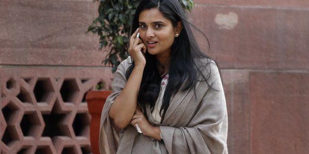 Kannada actress and Congress leader Ramya at Parliament