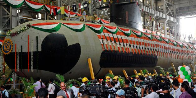 File photo of the Indian Navy's first indigenously-built Scorpene attack submarine at Mazagon Dock in...