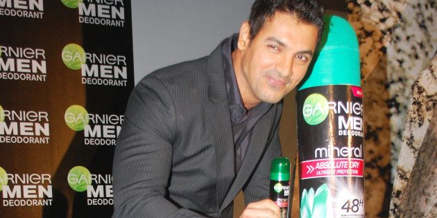 Actor John Abraham at a promotional event for Garnier Men in Mumbai on April 27, 2010. (Photo by Yogen...