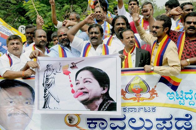 Mysuru: Pro-Kannada activists holding a protest in Mysuru on Tuesday in the wake of the Supreme Court...