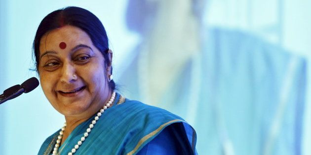India's Foreign Minister Sushma Swaraj at the India Africa business forum in New
