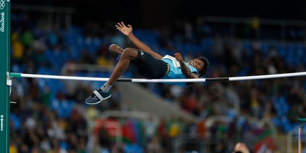 Mariyappan Thangavelu of India competes on his way to winning the gold medal in the