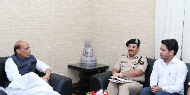Nabeel Ahmad Wani with Rajnath Singh in Delhi on September 11,