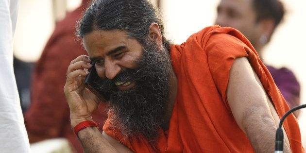 Yoga Guru Baba Ramdev during the rehearsals for the upcoming International Yoga Day at Rajpath, on June...