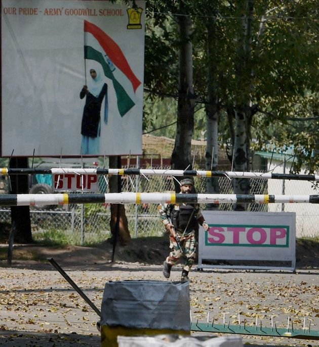 An army soldier in action inside the Army Brigade camp during a terror attack in Uri, Jammu and Kashmir...