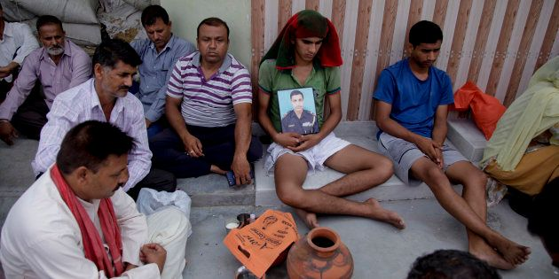 Son of Indian soldier Karnail Singh who was killed in Sunday's militant attack on the Indian army base...