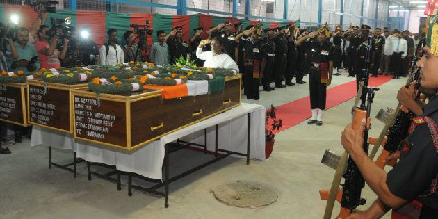 Governor Draupadi Murmu paying tribute to Late Martyrs Naiman Kujur and Jawara Munda, Jharkhand, and...