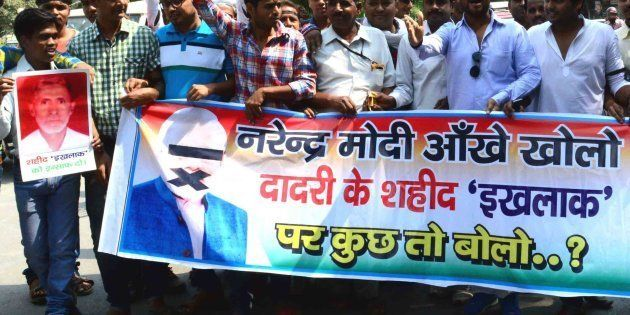 Protests against Prime Minister Narendra Modi Amid rising communal tension in Dadri days after the public...