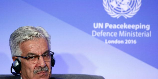 Pakistan Minister of Defence Muhammad Asif Khawaja at the UN Peacekeeping Defence Ministerial at Lancaster...