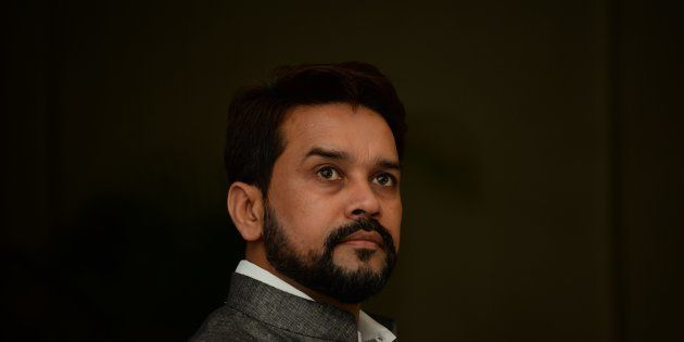 Board of Control for Cricket in India (BCCI) President Anurag Thakur looks on as he speaks during a press...
