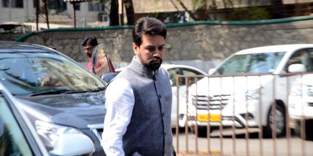 Anurag Thakur arrives at BCCI head office for BCCI special general meeting at Church Gate on February...