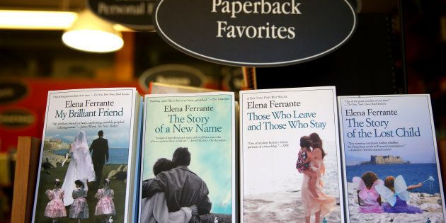 Elena Ferrante's books are photographed at the Harvard Book Store in Cambridge, Mass., on April 8, 2016....