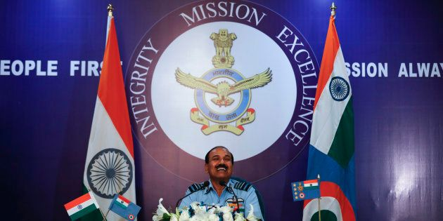 Indian Air Force Chief Air Chief Marshal Arup Raha listens to a question during a press conference in...
