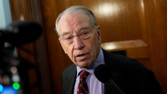 Sen. Chuck Grassley (R-IA), Chairman of the Senate Judiciary Committee, speaks with reporters on Capitol Hill in Washington, U.S., October 2, 2018. REUTERS/Aaron P. Bernstein