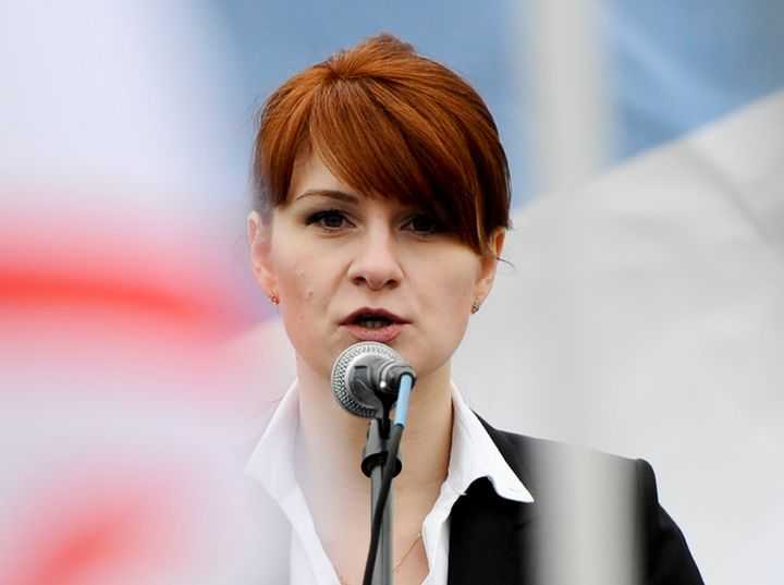 Maria Butina, leader of a pro-gun organization in Russia, speaks to a crowd on April 21, 2013, during a rally in support of l