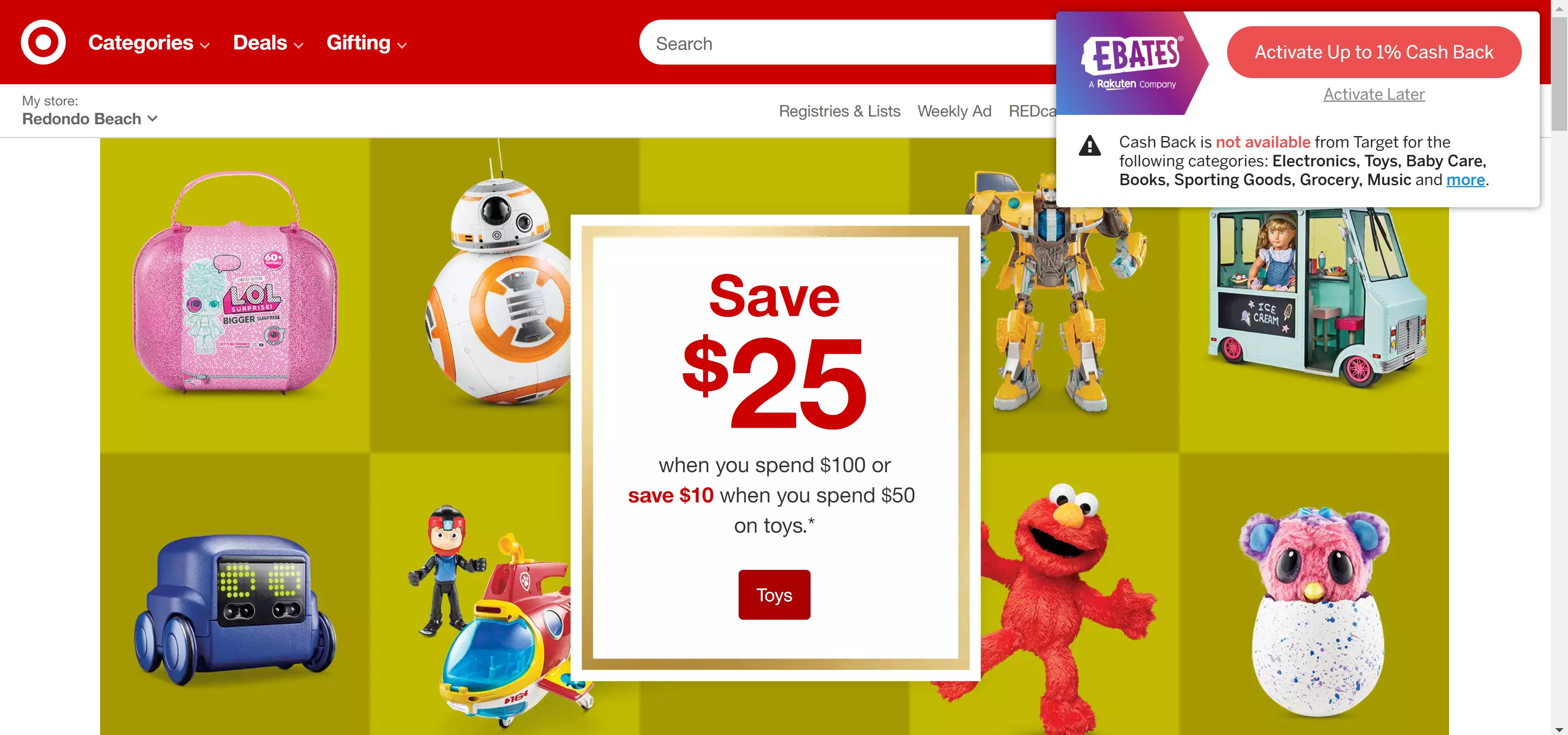 The Ebates Chrome extension notifies shoppers of cash back opportunities at Target.
