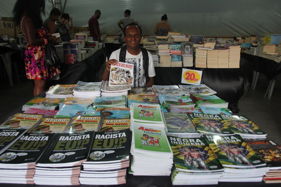 MauricioPestana at a book fair in Salvador. His books cover a range of topics, including black and indigenous Brazilian