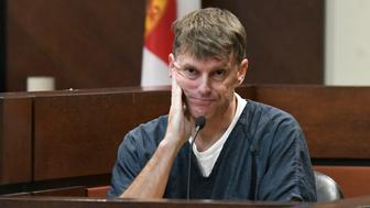 Brian Winchester sits on the witness stand during their cross-examination in Tallahassee, Fla., Wednesday, Dec. 12, 2018. Winchester completed his testimony Wednesday during the second day of the trial of Denise Williams. (Alicia Devine/Tallahassee Democrat via AP, Pool)