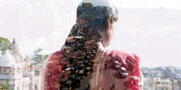 double exposure of a woman and Indian