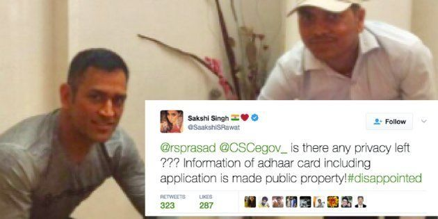 Dhoni's Personal Details Leaked On Twitter By Aadhaar Card Agency, Wife Sakshi Complains to IT Minister...