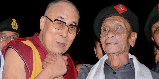 Dalai Lama with Naren Chandra Das, a retired havaldar of 5 Assam Rifles during Namami Brahmaputra festival...