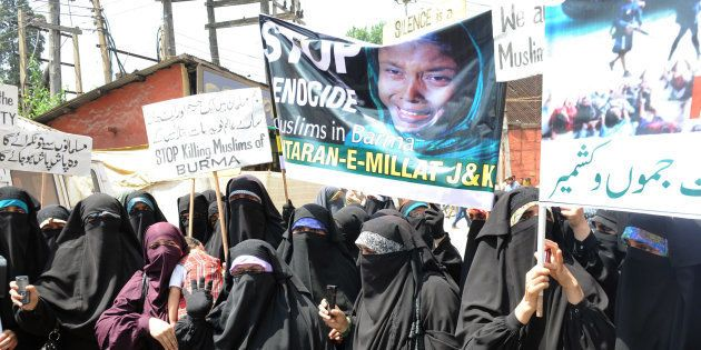 Kashmiri Dukhtaran-e-Millat (Daughters of the Nation) activists demonstrate during a protest in Srinagar...
