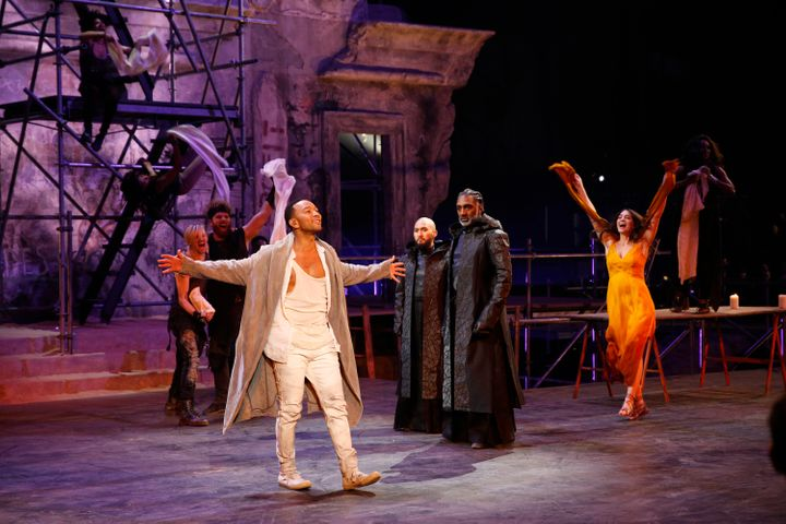 """Lewis (third from right) starred in """"Jesus Christ Superstar Live!"""" with John Legend in April."""