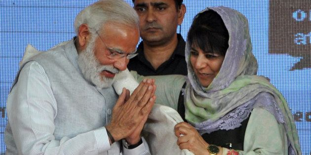 File photo of J&K chief minister Mehbooba Mufti with Prime Minister Narendra