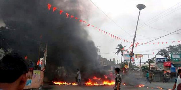 A scene after a communal tension broke out in Bhadrak, Odisha on