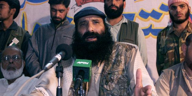 Syed Salahuddin, supreme commander of Kashmiri militant group Hizbul-Mujahideen, at a press conference...