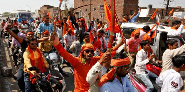 REPRESENTATIVE IMAGE: Hindu Yuva Vahini vigilante members take part in a rally in the city of Unnao,...
