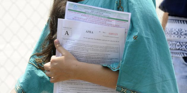 Representative image. Students coming out after appearing the CBSE National Eligibility-Cum-Entrance...