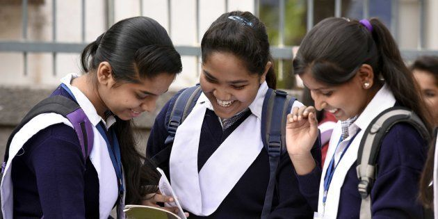 Students revise their lessons before appearing in board exams outside Govt Girls senior secondary