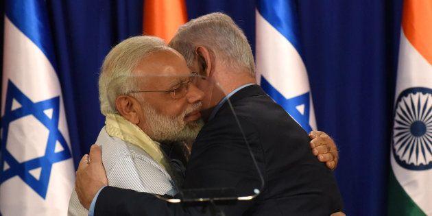 Indian Prime Minister Narendra Modi and Israeli Prime Minister Benjamin Netanyahu